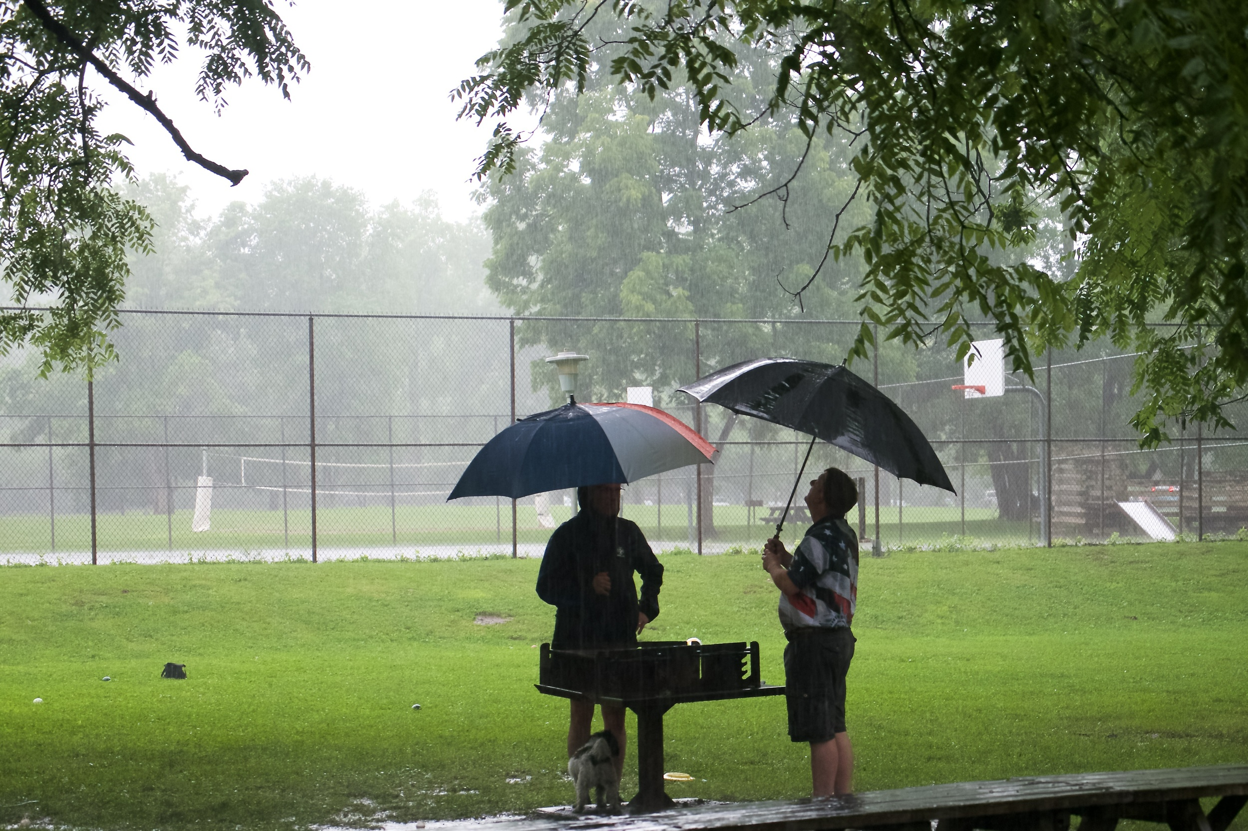 Curt and Kevin contemplating using the grill in the rain