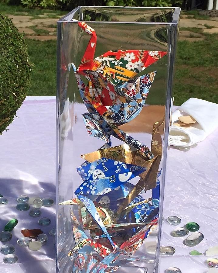 Table cranes in vases (photo by Kathy Tashima)