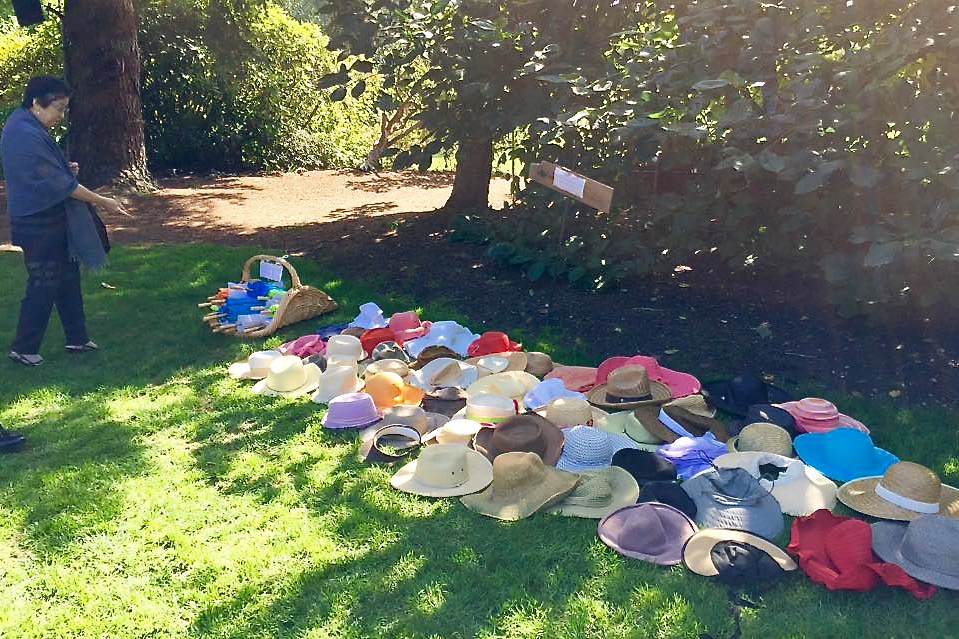 Hats for guests to use (photo by Kathy Tashima)