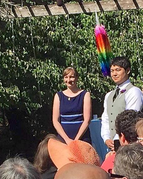 Judy and Kellen waiting at the altar (photo by Kathy Tashima)