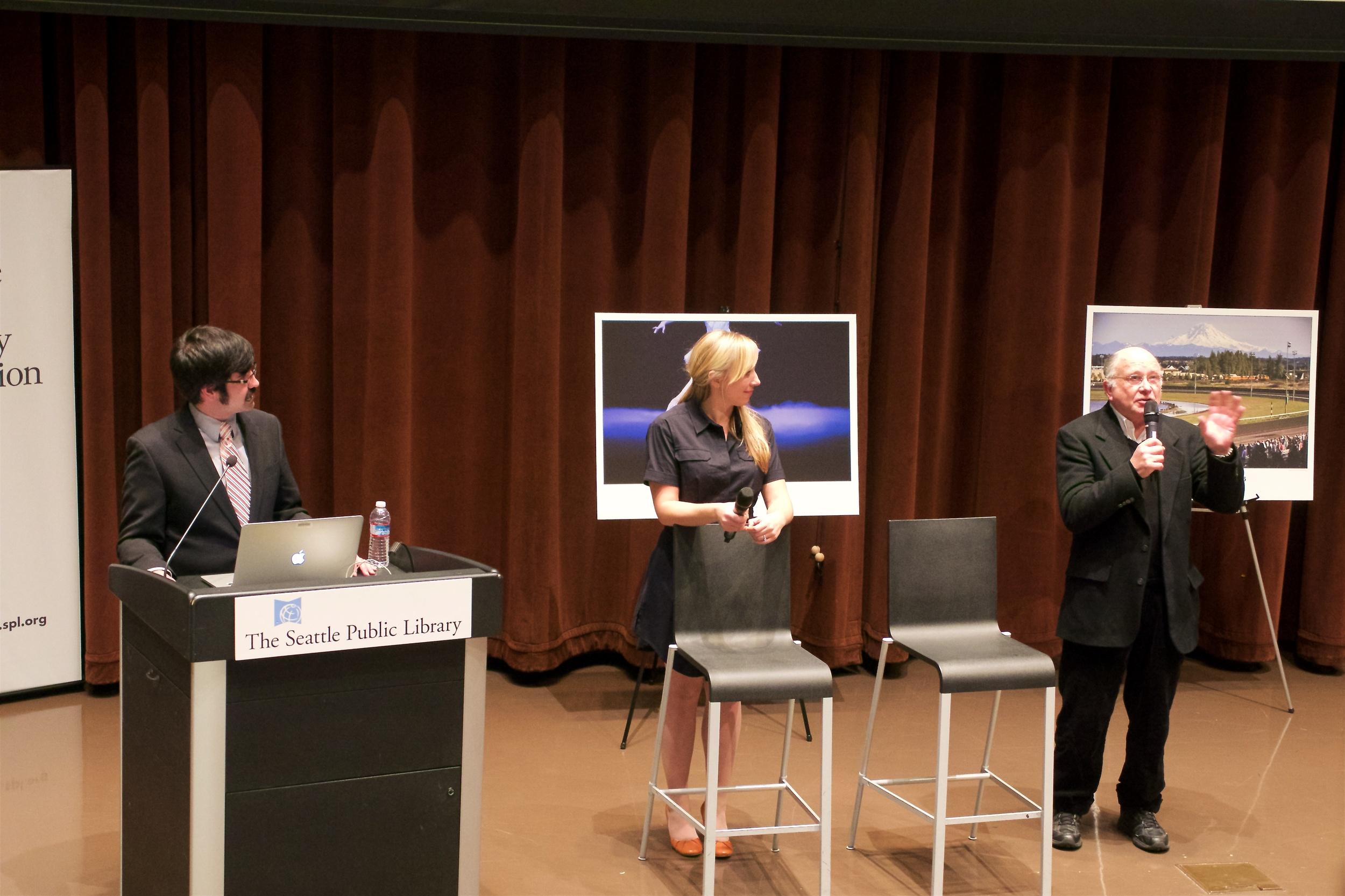 Danny Gawlowski, Erika Schultz, and Greg Gilbert answering questions