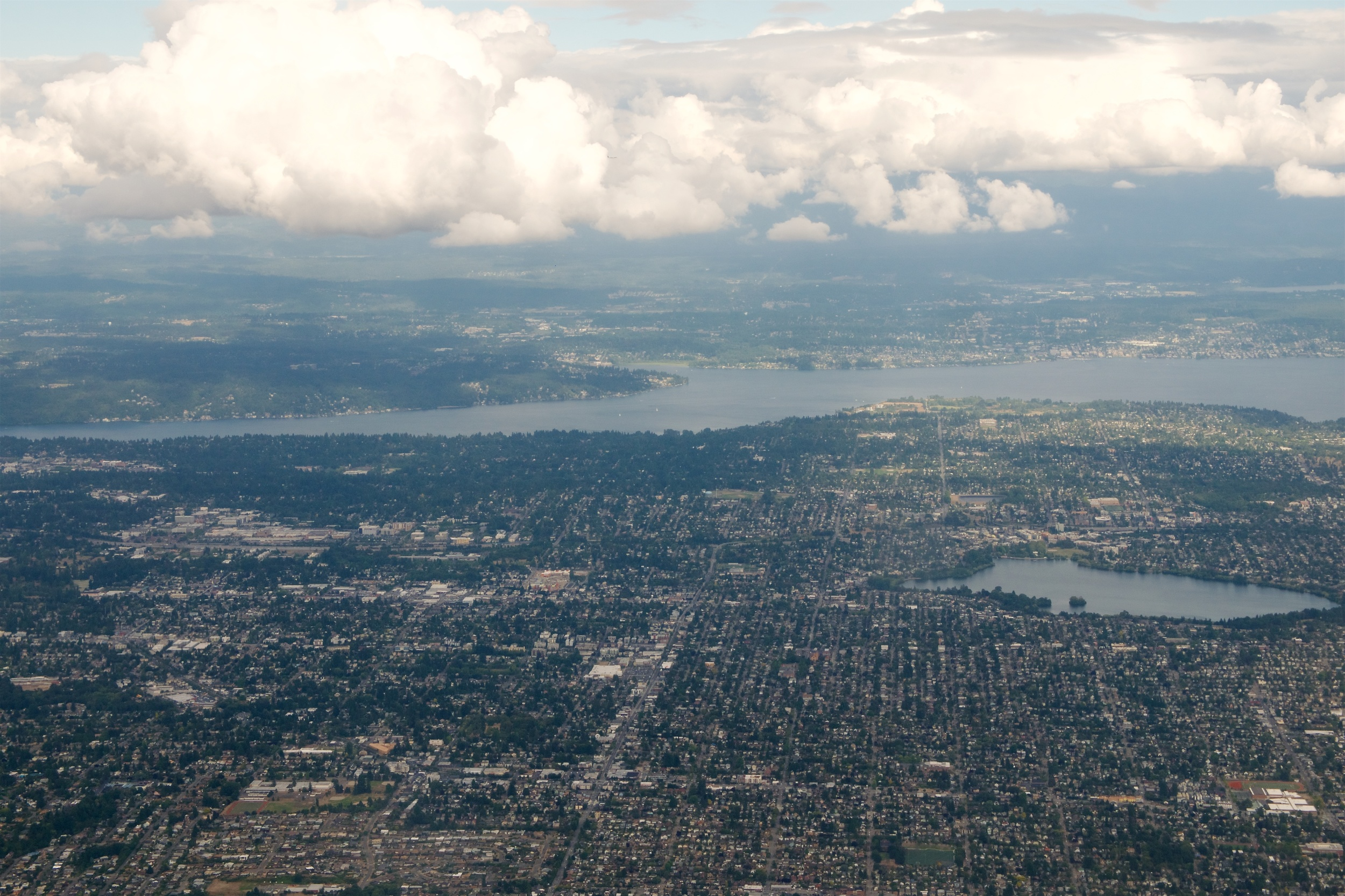 Northeast Seattle (Lake Washington going across the middle, Green Lake lower right, our house is in the center of the photo)