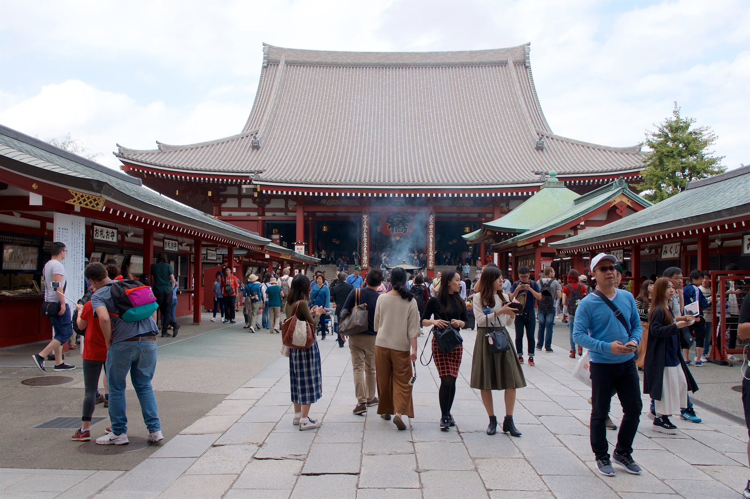 Sensoji Temple and incense burner with wishing stations on the sides