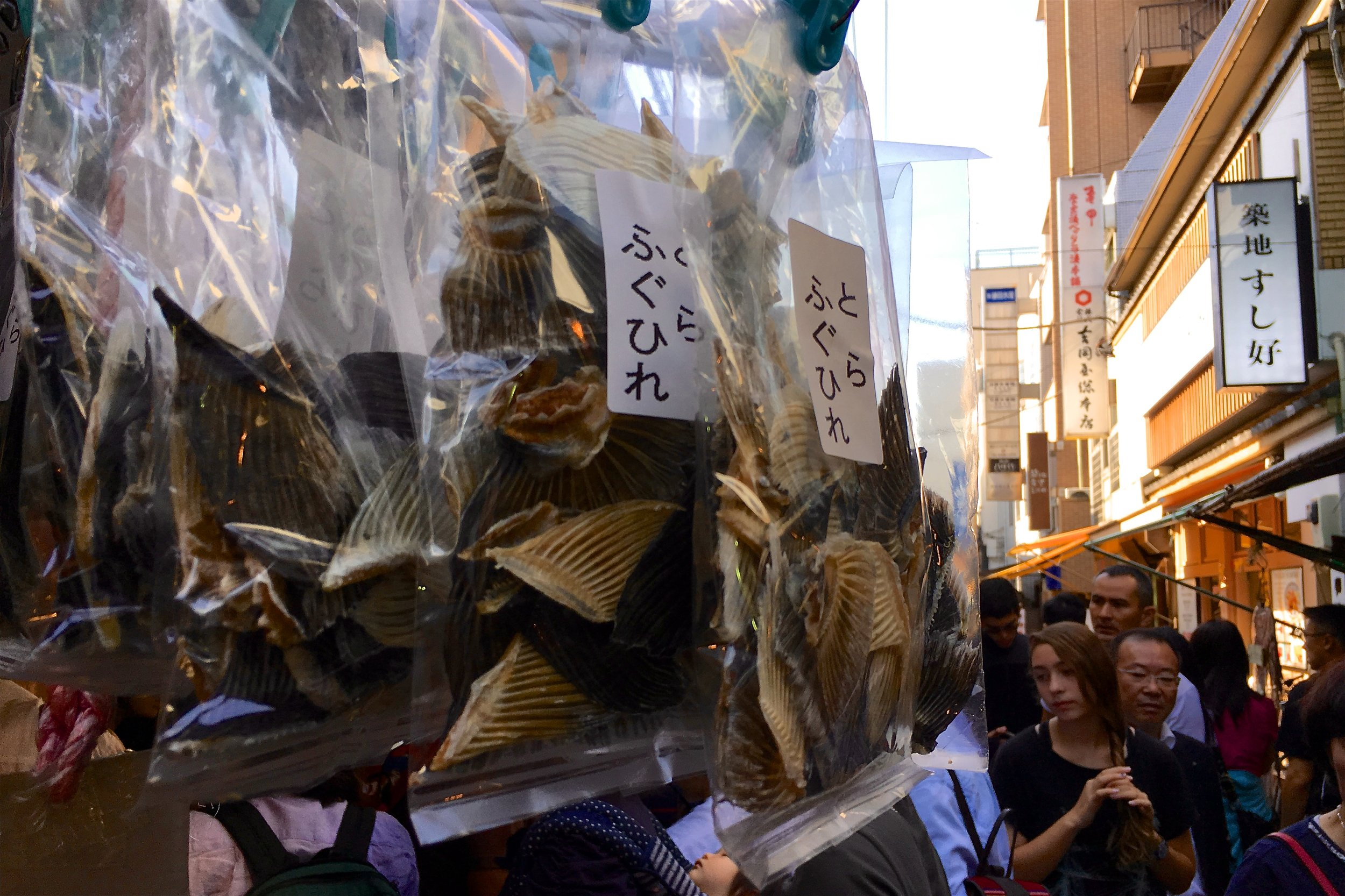 Dried fish fins and tails