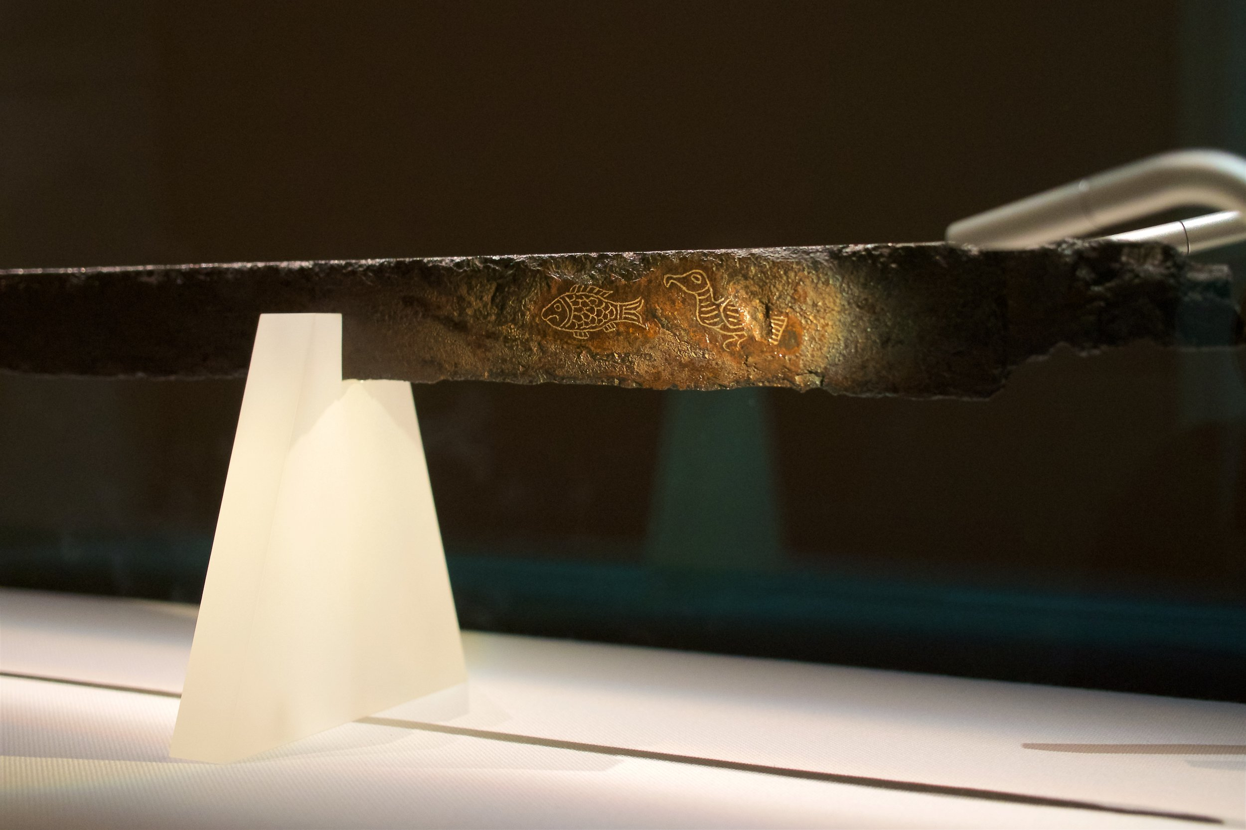 Iron sword with silver inlay inscription
