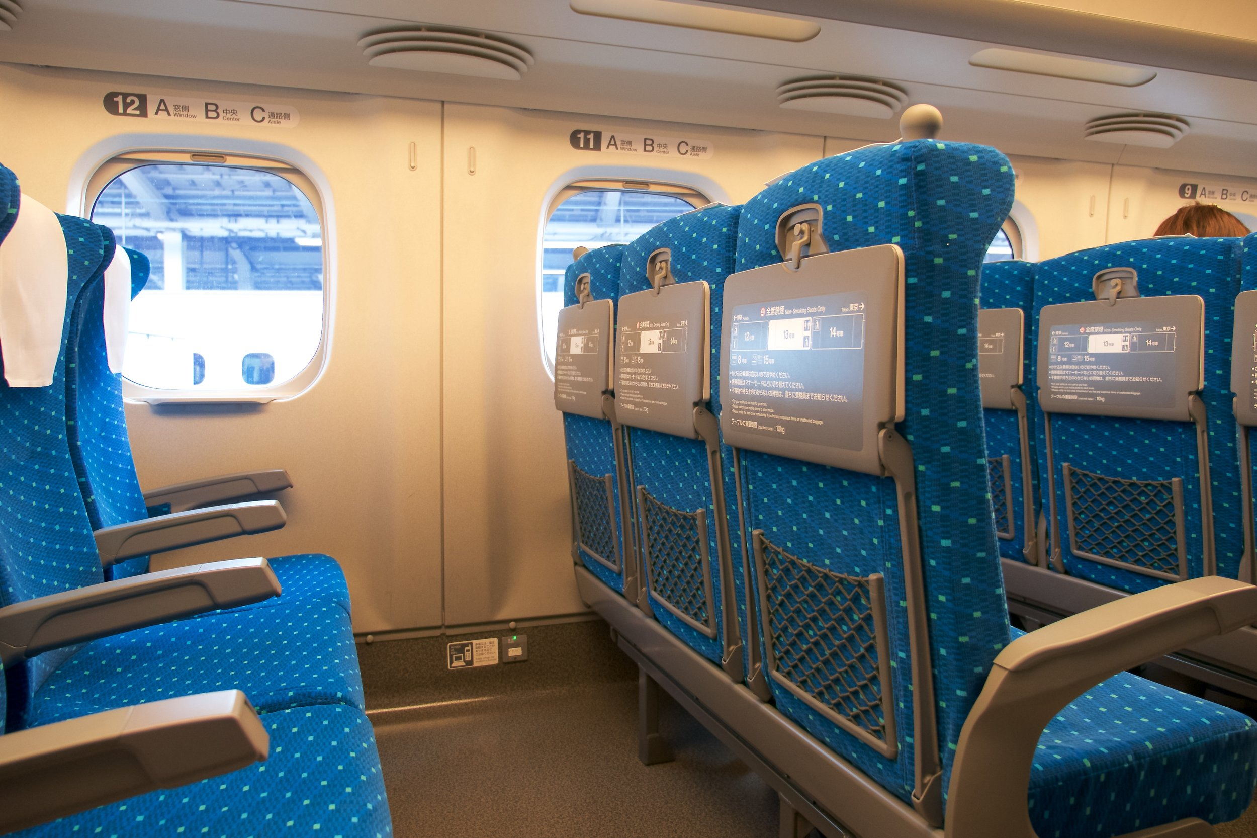 Riding a Shinkansen is a lot like an airplane, but more room. There were only two seats on our side of the aisle.