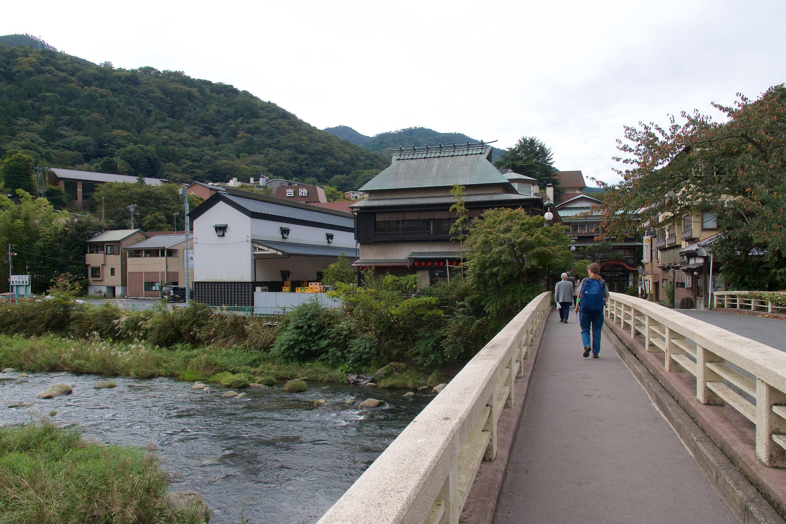 Crossing the Hayakawa River on our way to our hostel