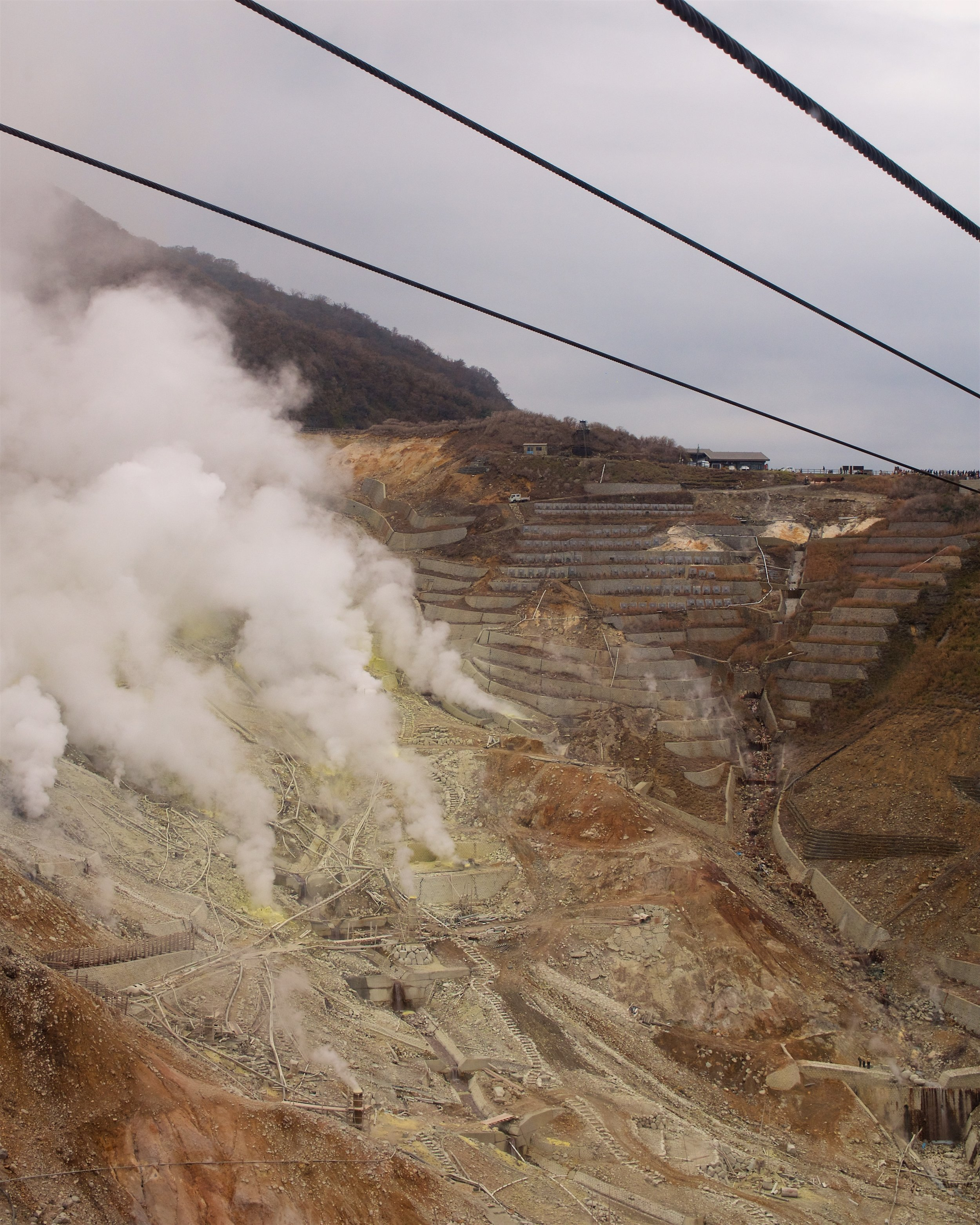 Sulfur gasses being pumped from Owakudani