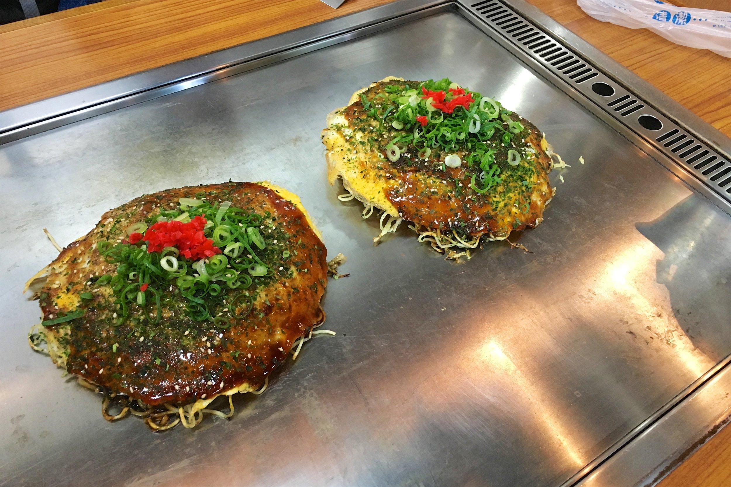 Anago and oyster okonomiyaki