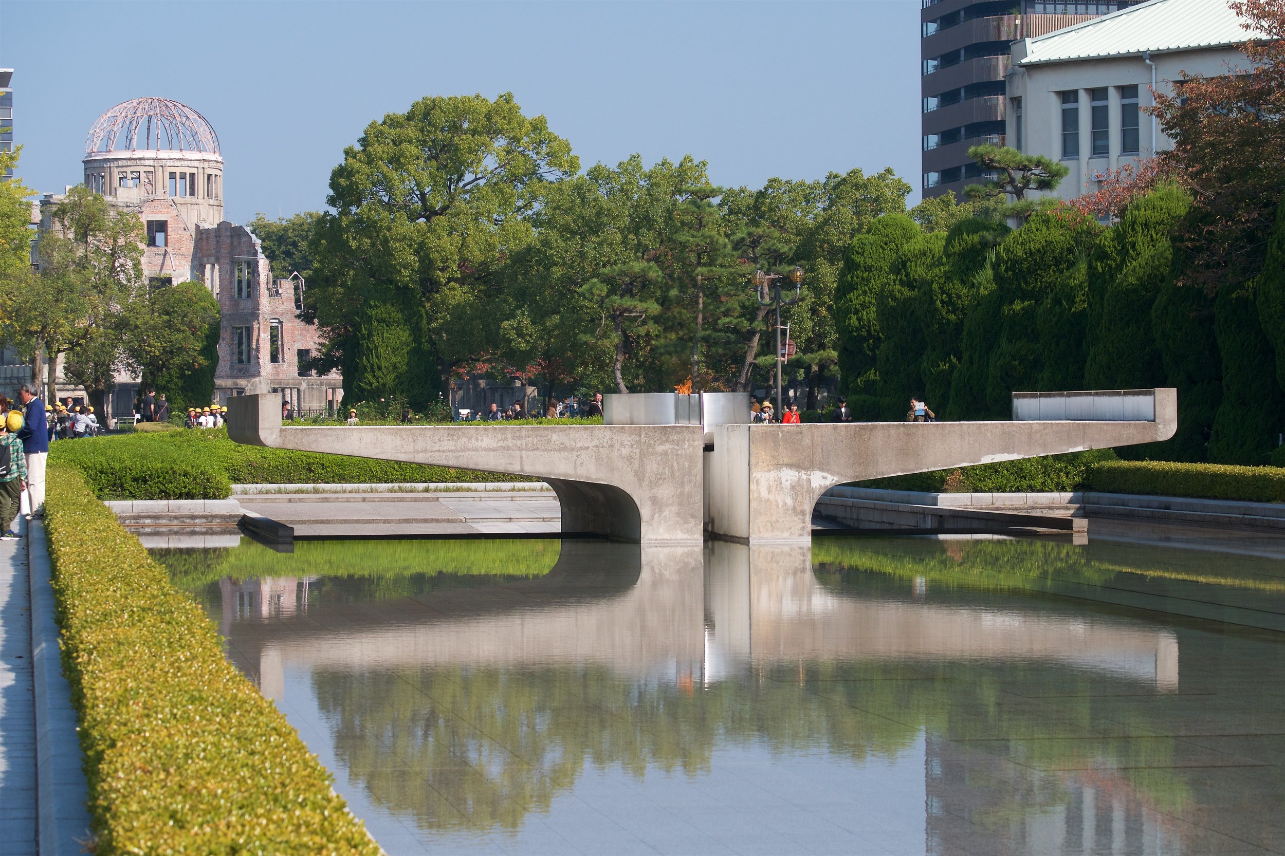 Pond, flame, Atomic Bomb Dome
