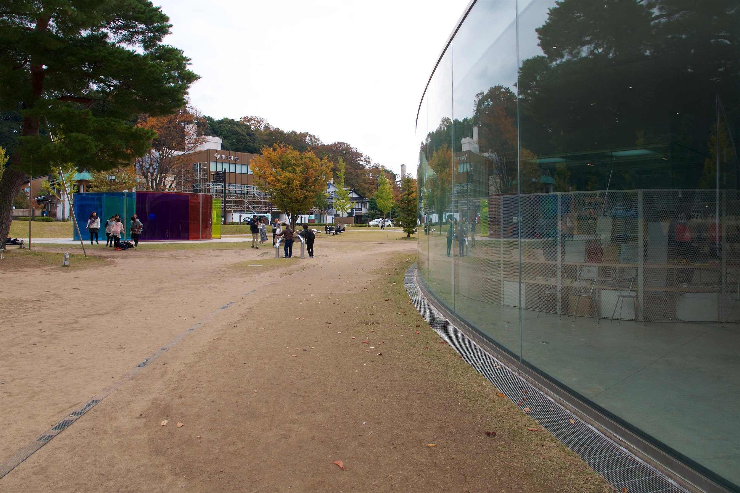 Outside windows of the museum