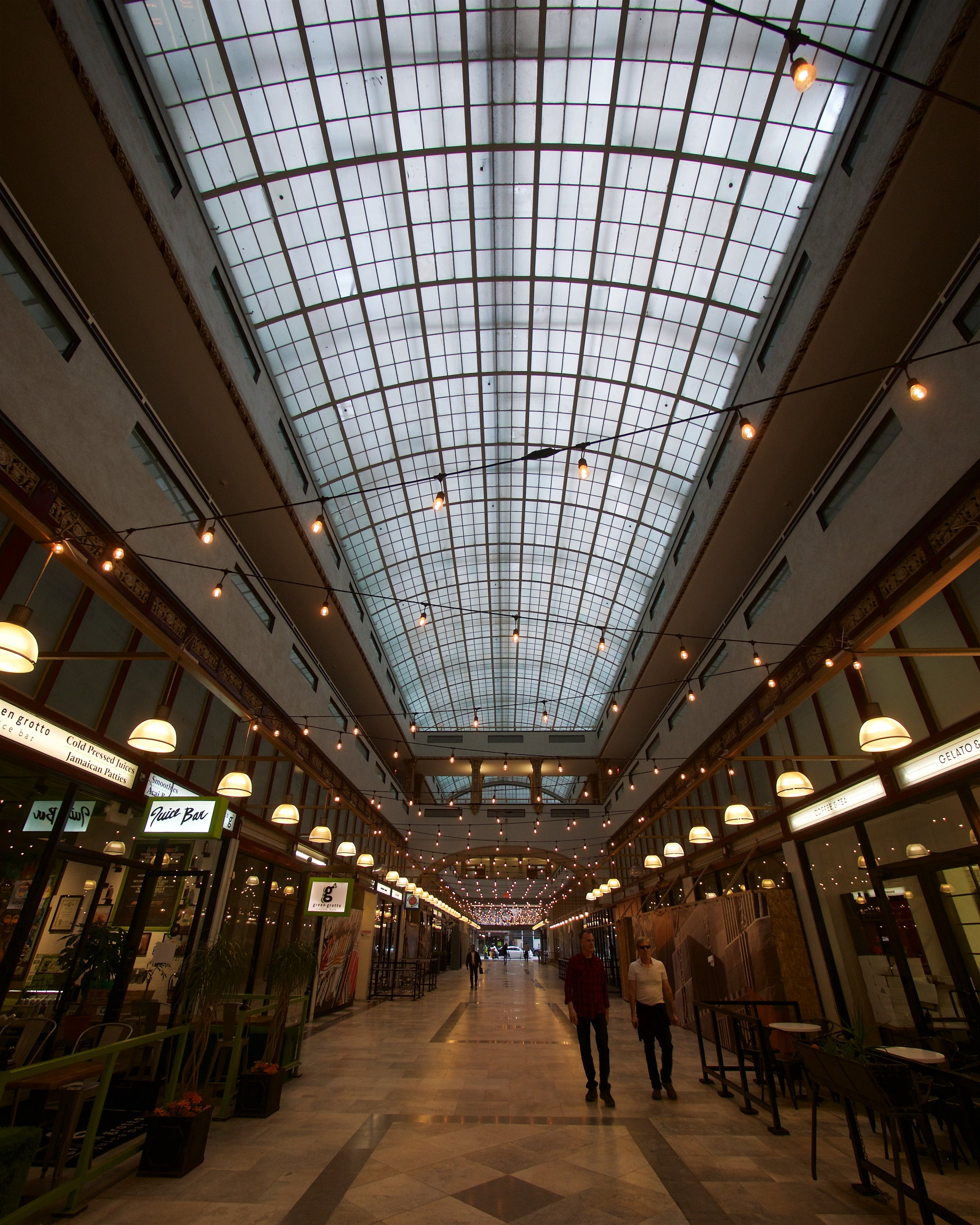 The Spring Arcade connects two twelve-story office buildings, one facing Spring, the other Broadway