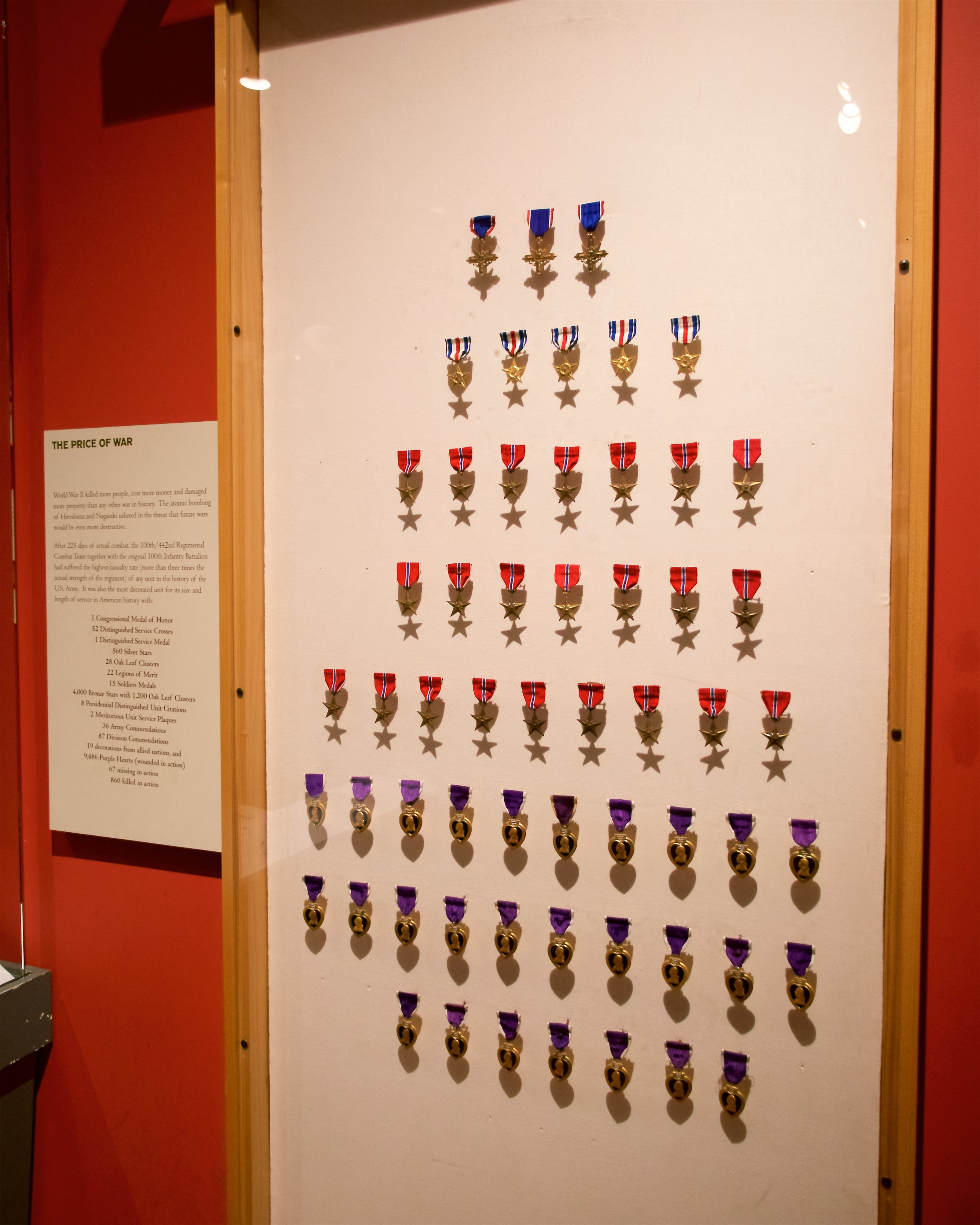 Medals awarded to the 422nd Regiment consisted mostly of Japanese American soldiers and was the most decorated regiment of its size and length of service