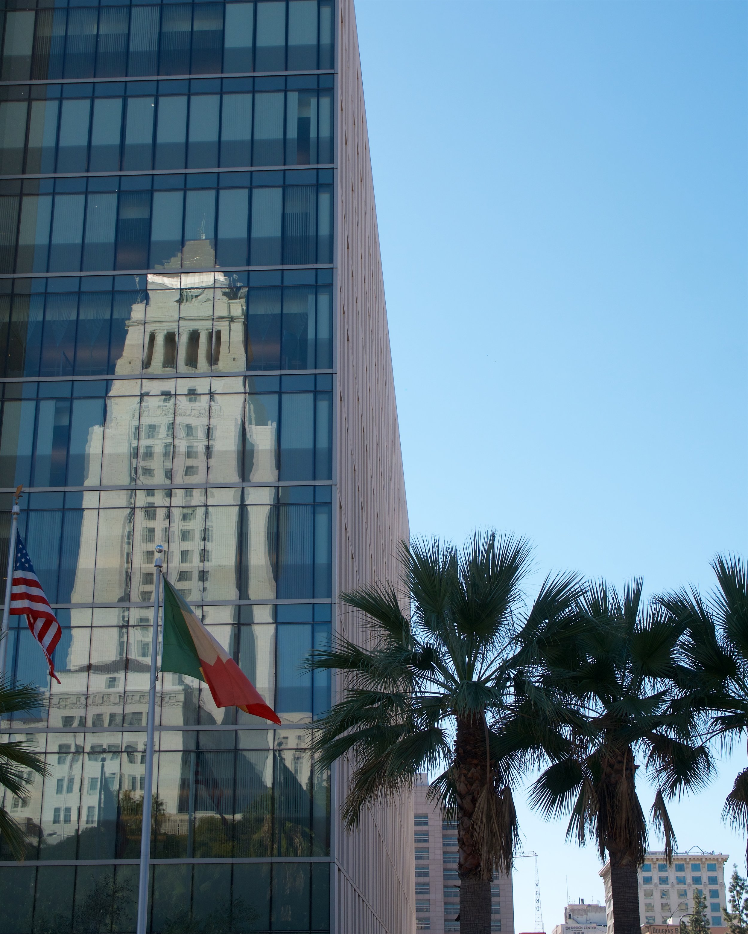 City Hall reflected in the Los Angeles Police Department building