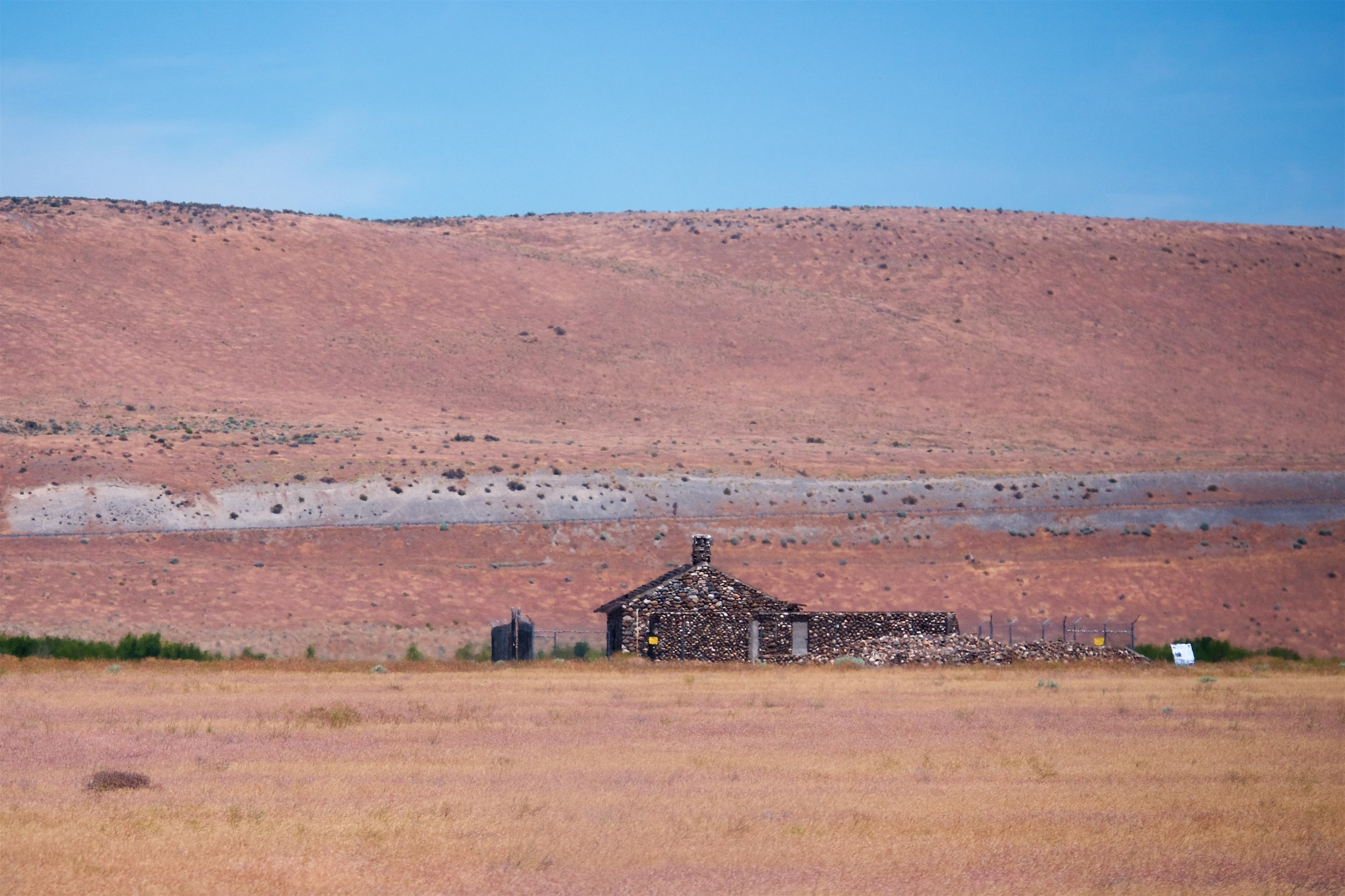 Remnants of a farmstead building of people who lived in the area before Hanford was taken over for government use