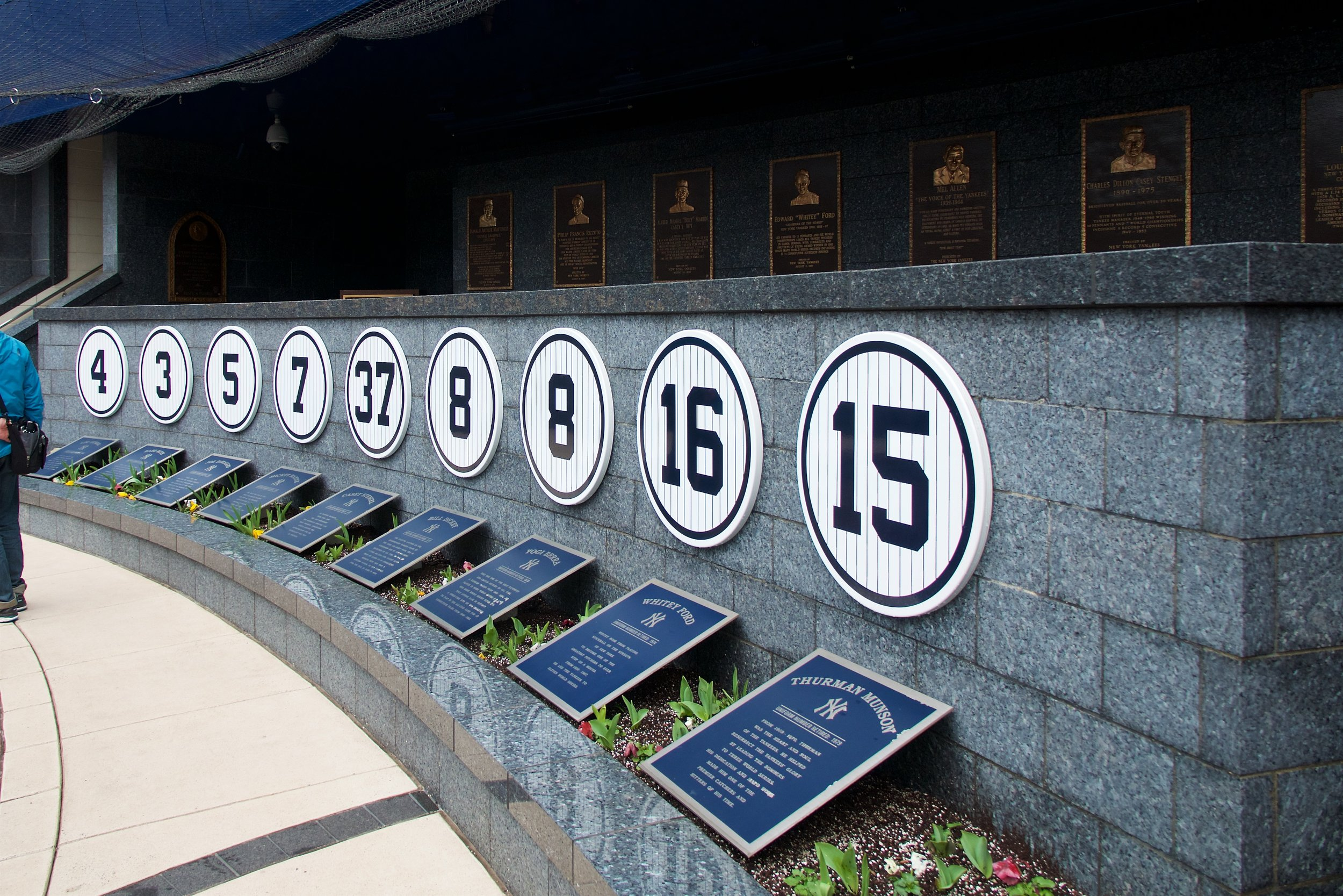 Monument Park (Lou Gehrig, Babe Ruth, Joe DiMaggio, Mickey Mantle, Casey Stengel, Bill Dickey, Yogi Berra, Whitey Ford, Thurmon Munson)