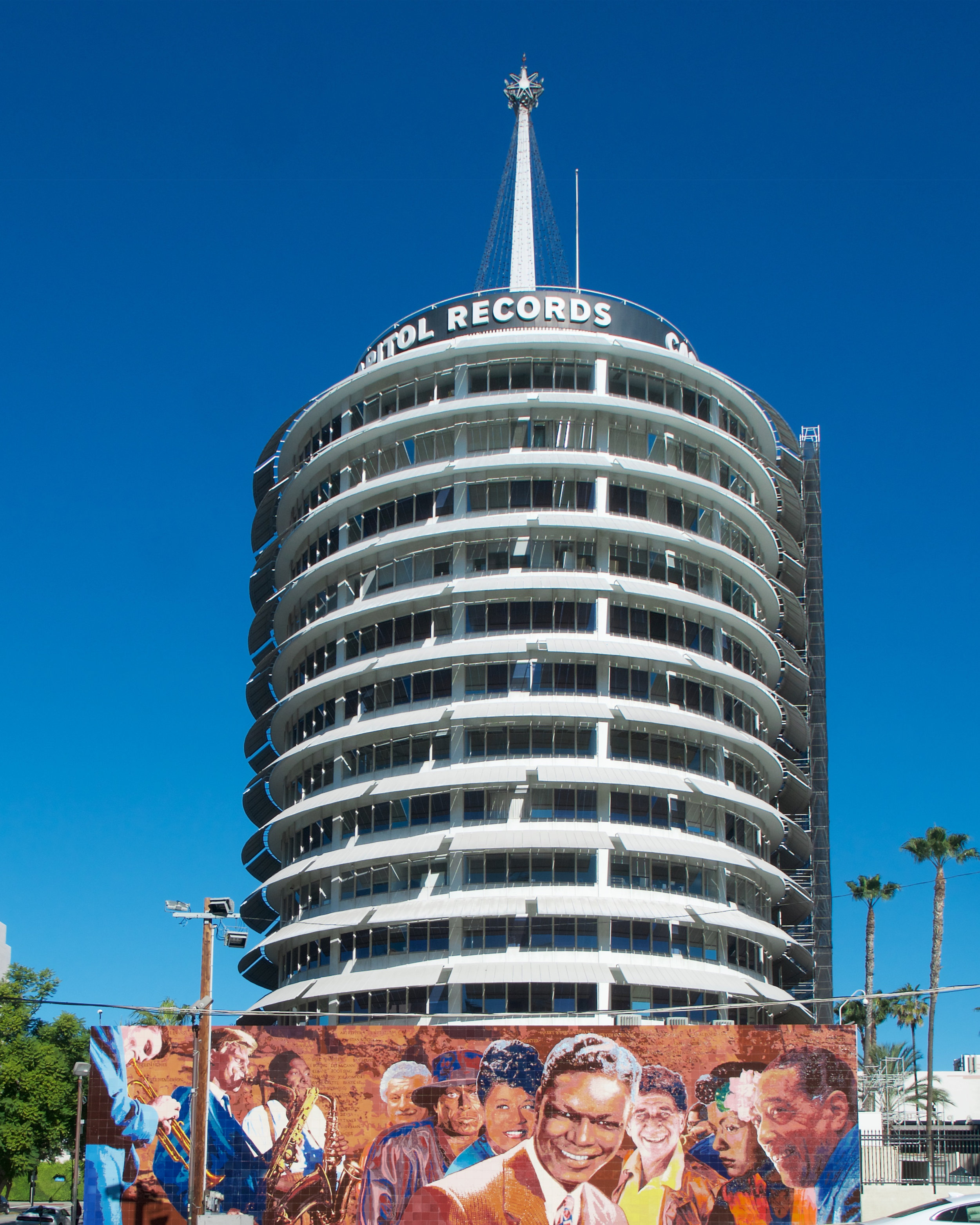 Capitol Records Building with Hollywood Jazz Mural