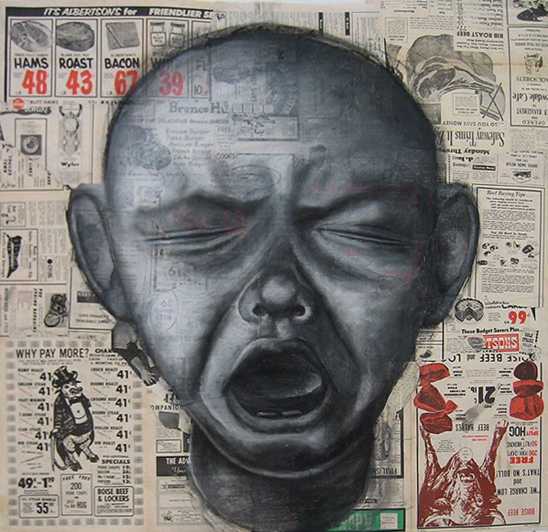 """Meat Baby                                              Charcoal on found paper                                    42"""" x 42"""""""