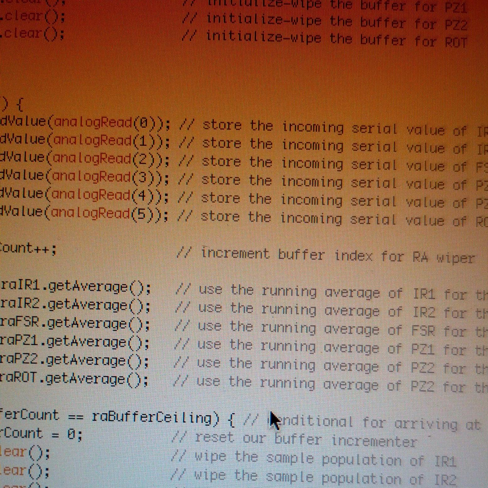 Experimenting with implementing a running average filter on all sensors