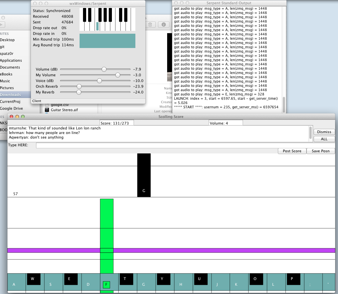 GNO software running during a rehearsal.