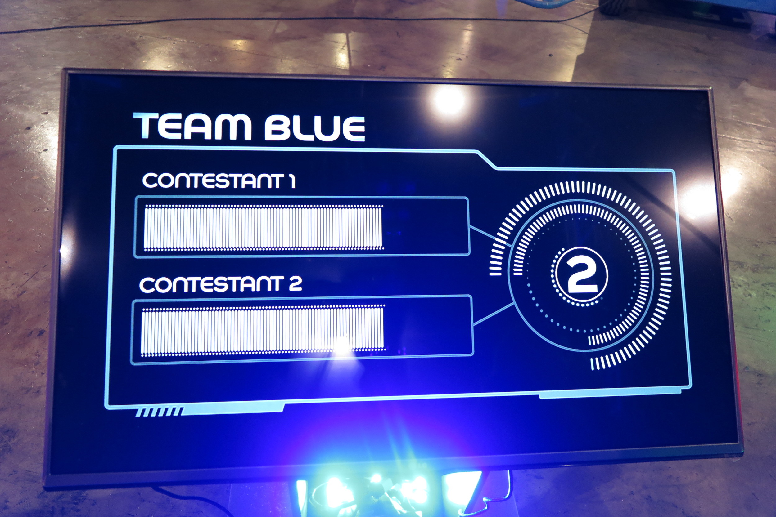 One of the teams' TV challenges running in demo, with generic titles...