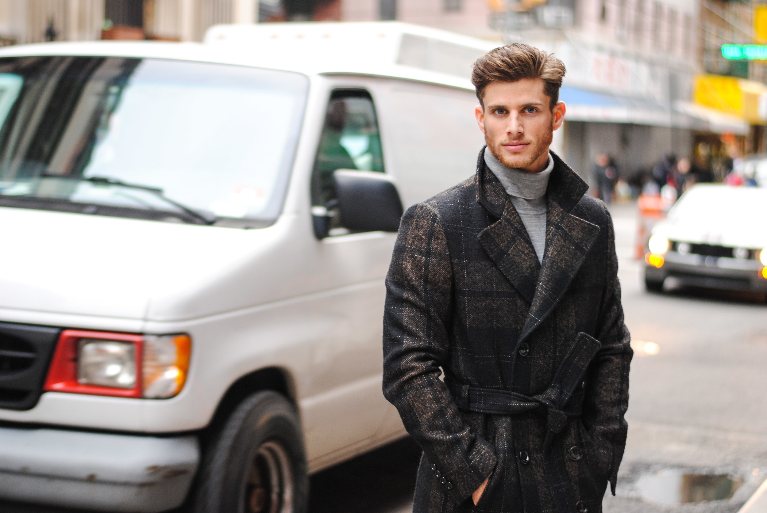 Grey Uniqlo Wool Turtleneck and Zara Wool Trench