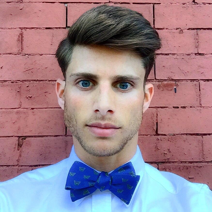 Barrett wears Owl Printed Royal Blue Bow Tie from Tie The Knot