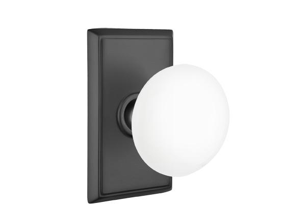EMTEK | Ice White Knob, Rectangular Rosette | FLAT BLACK.jpg