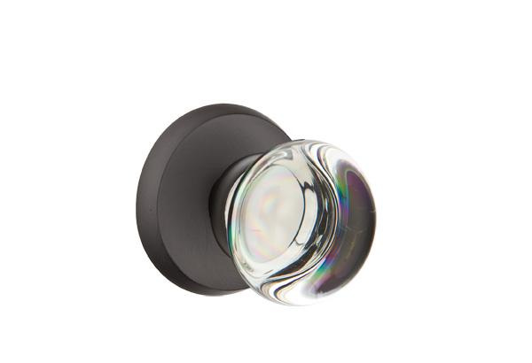 EMTEK | Providence Crystal Knob - Bronze, Sandcast Bronze #2 Rosette | FLAT BLACK.jpg