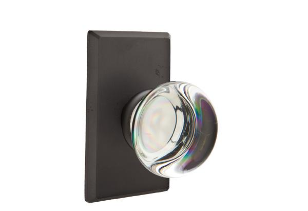 EMTEK | Providence Crystal Knob - Bronze, Sandcast Bronze #3 Rosette | FLAT BLACK.jpg