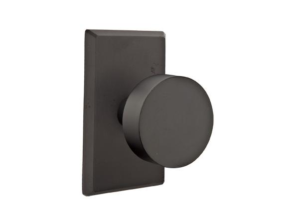 EMTEK | Round Knob - Bronze, Sandcast Bronze #3 Rosette | FLAT BLACK.jpg