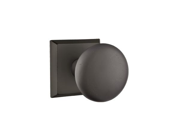 EMTEK | Winchester Knob, #6 Sandcast Bronze Rosette | FLAT BLACK .jpg