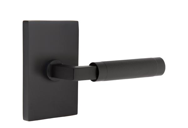 EMTEK SELECT, L-Square Knurled Lever, Modern Rectangular Rosette | FLAT BLACK.jpg