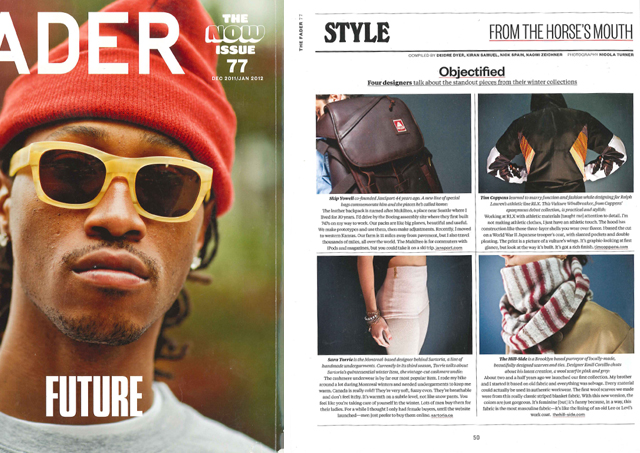 FADER  (Dec 2011/Jan 2012 : Issue 77,  From the Horses Mouth , pg 50)