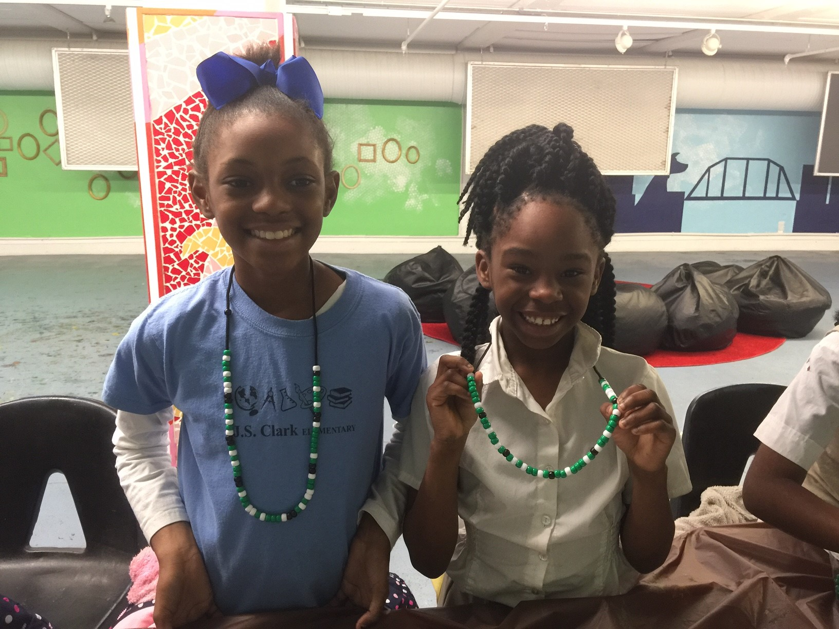 Students from J.S. Clark are full of STEAM as they beaded their name in binary code!