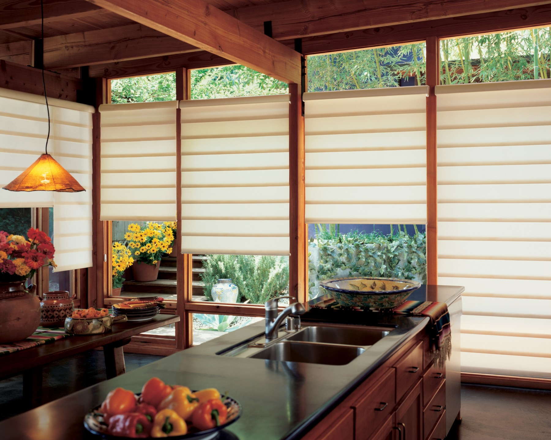 Wooden Pull Down Blinds