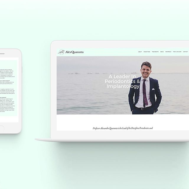 Minty fresh brand identity design and website design for Prof Alex Quaranta   #chrisraedesign #brandidentity #websitedesign #mintyfresh #dentist #responsivedesign #sydneydesign #sydneydesigner #profalex #werk