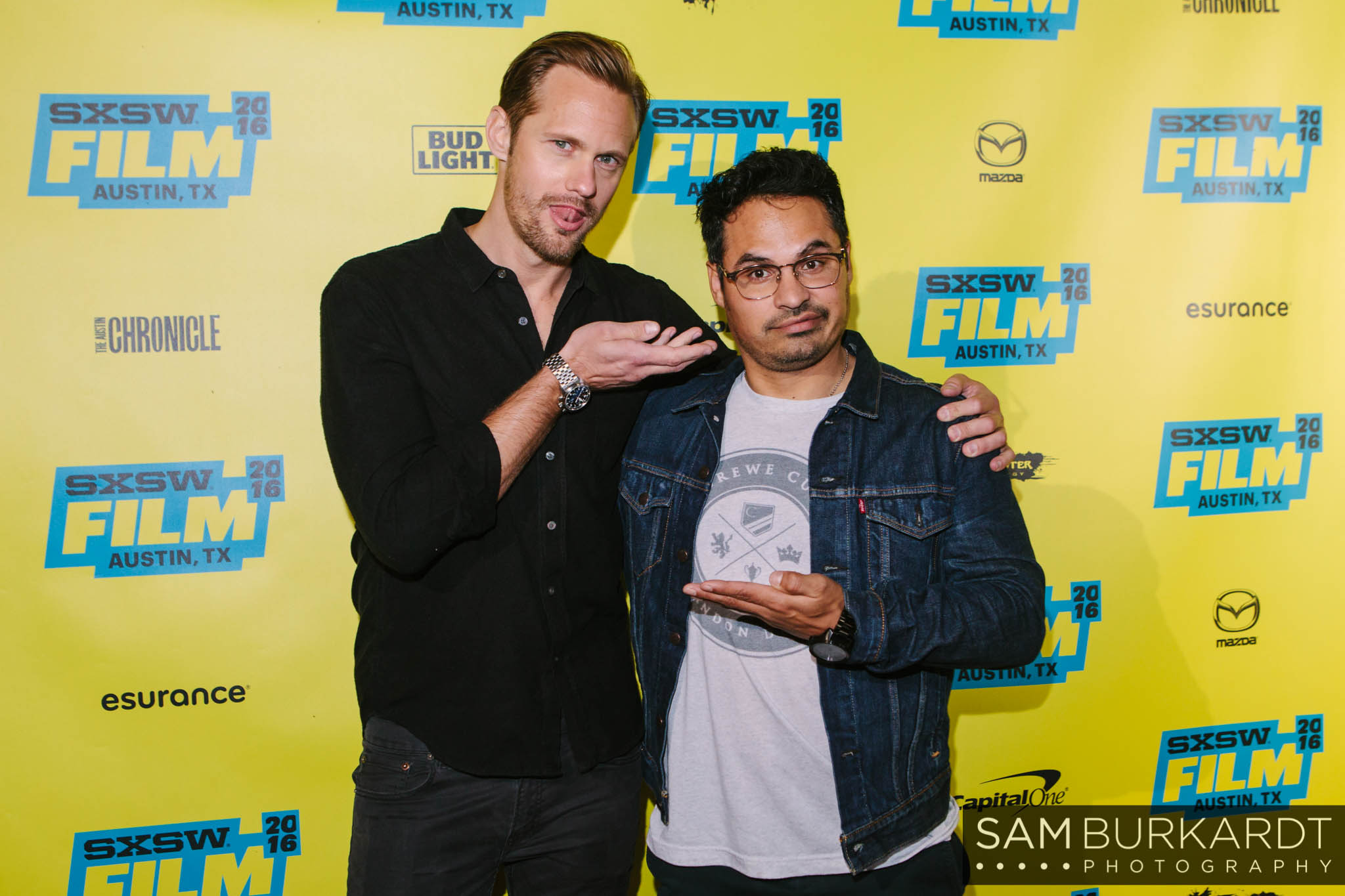 Alexander Skarsgard and Michael Pena at SXSW in Austin, Texas.