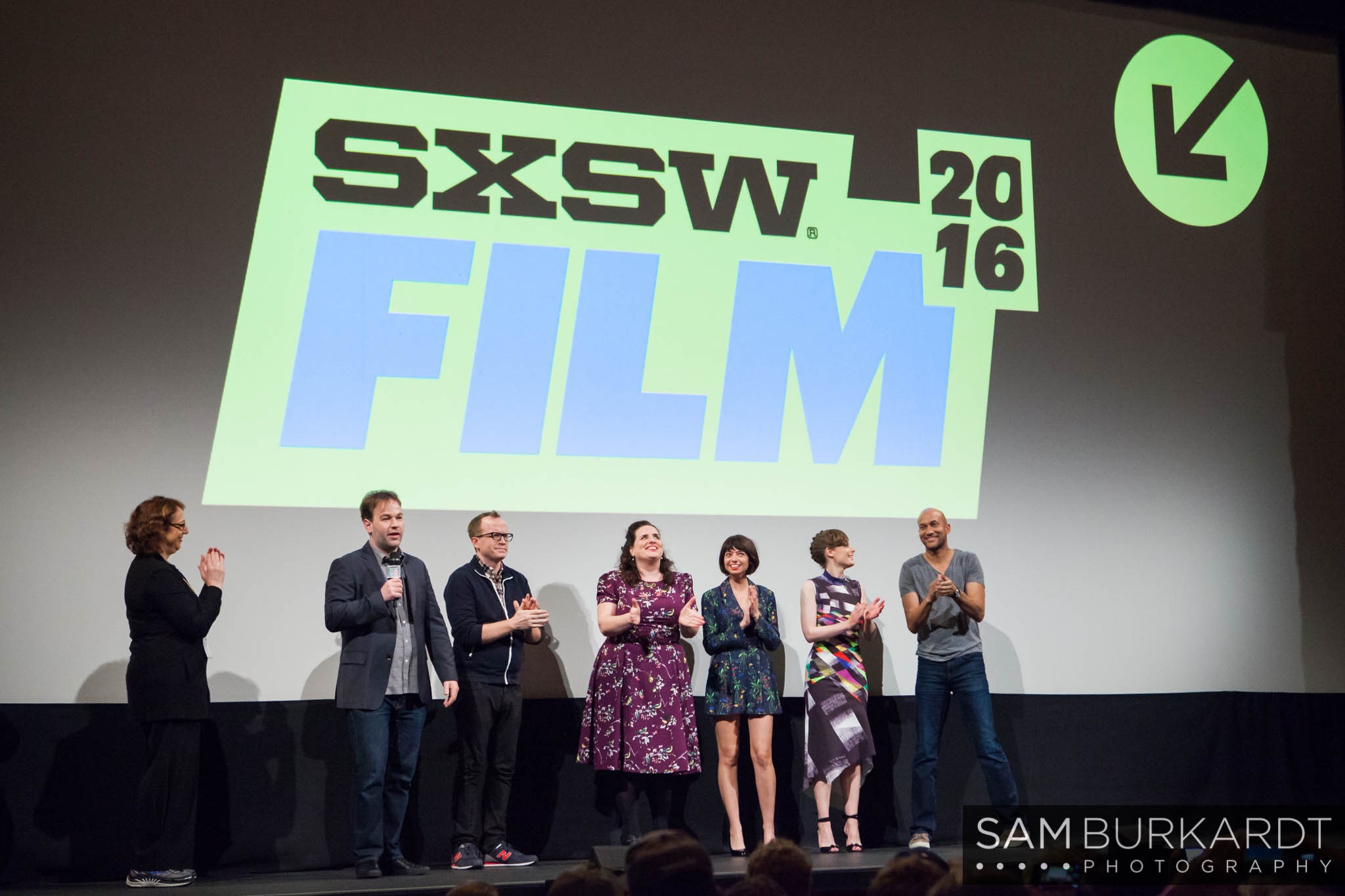 Mike Birbiglia, Gillian Jacobs, Kate Micucci, Tami Sagher, Keegan-Michael Key and Chris Gethard at 'Don't Think Twice' movie premiere at SXSW 2016