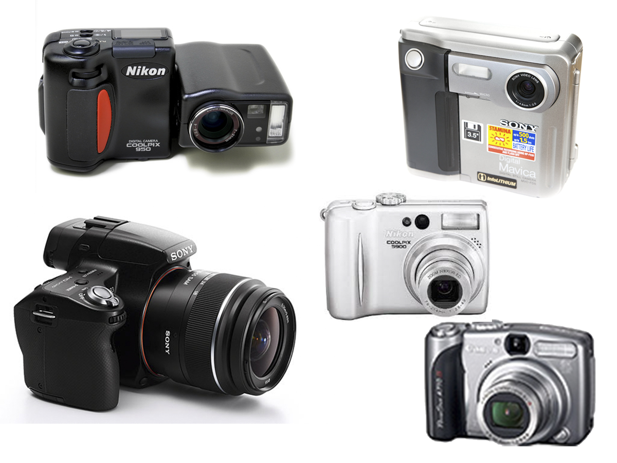 from left to right: Nikon CP-950,Sony Mavica, Nikon Coolpix 5900,Canon Power Shot A710 and the Sony Alpha 33 D-SLR