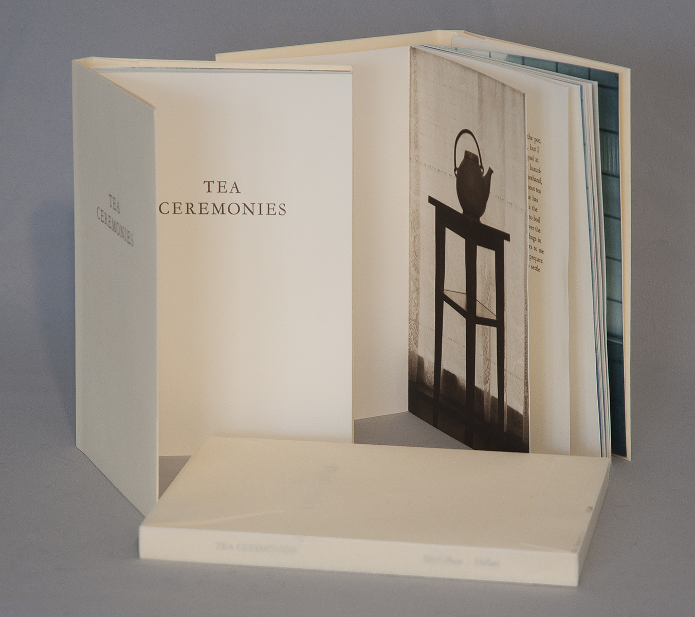 © 2016 M. MacCallum, Tea Ceremonies, (text by Matthew Hollett), hand-bound accordion artists' book with folded paper cover and wrapper, images printed in photogravure and lithography, text printed in letterpress