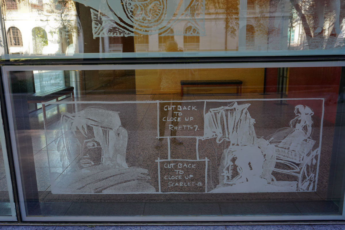© 2017 Louise Levergneux, left plaza etched glass of the Harry Ransom Center, Austin,  Storyboard from Gone with the Wind, 1939