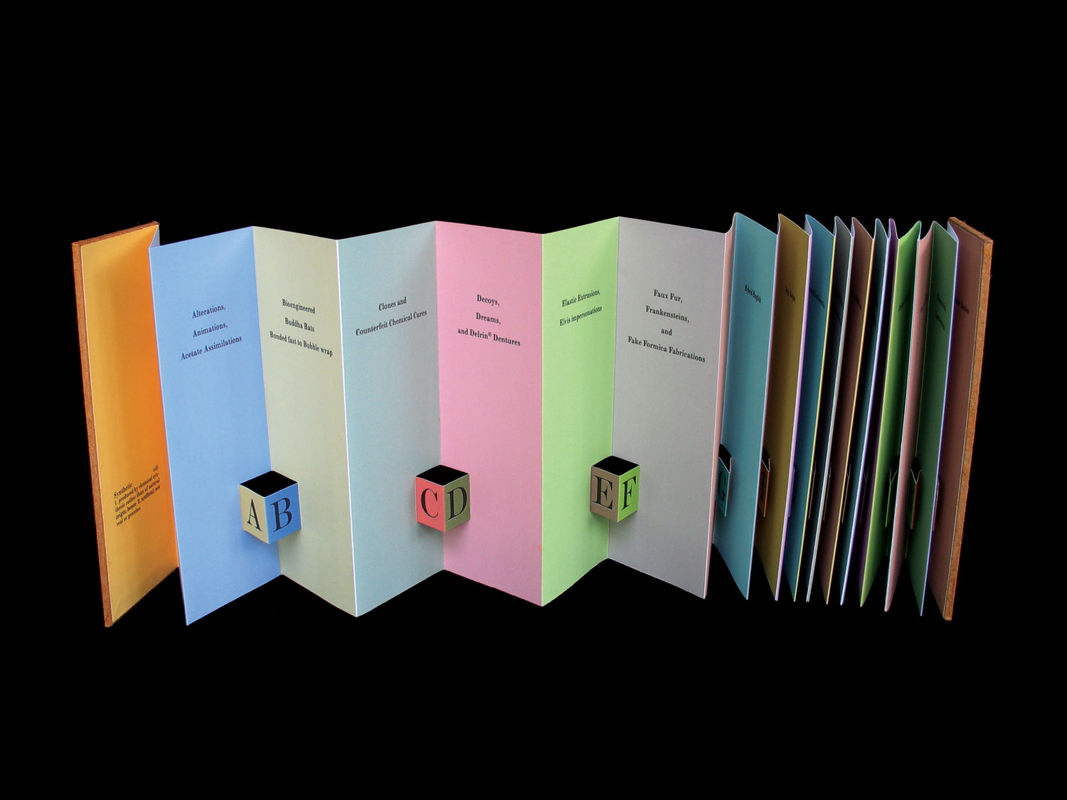 © 2002 Carol Barton,  Alphabetica Synthetica, accordion book structure with pop-ups and laser printing