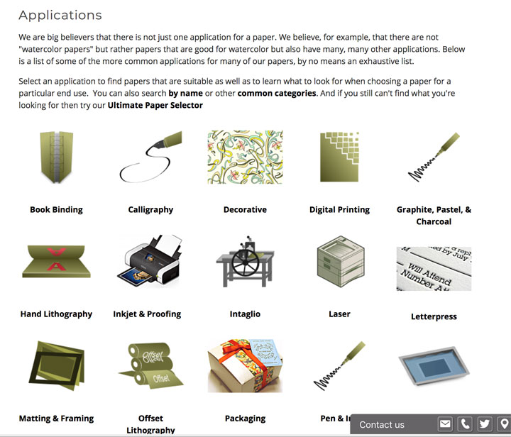Legion Papers website page, most of the choices of paper by  applications