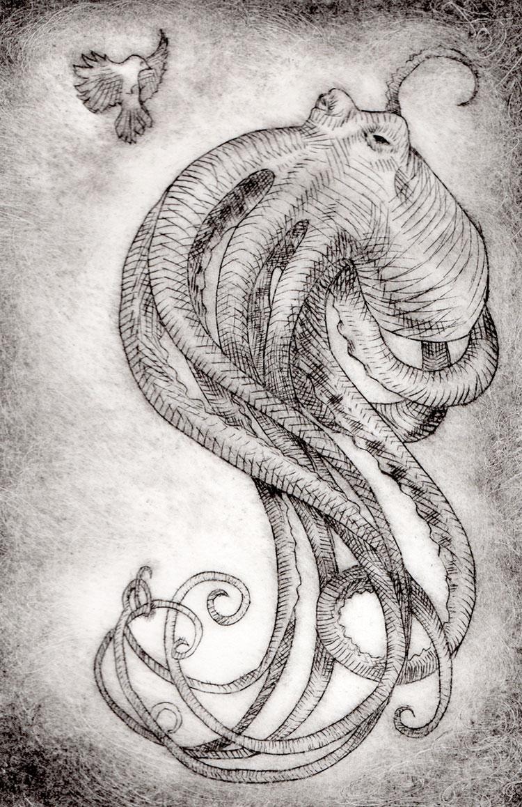 © 2018 Desarae Lee,Octopus,pen and ink