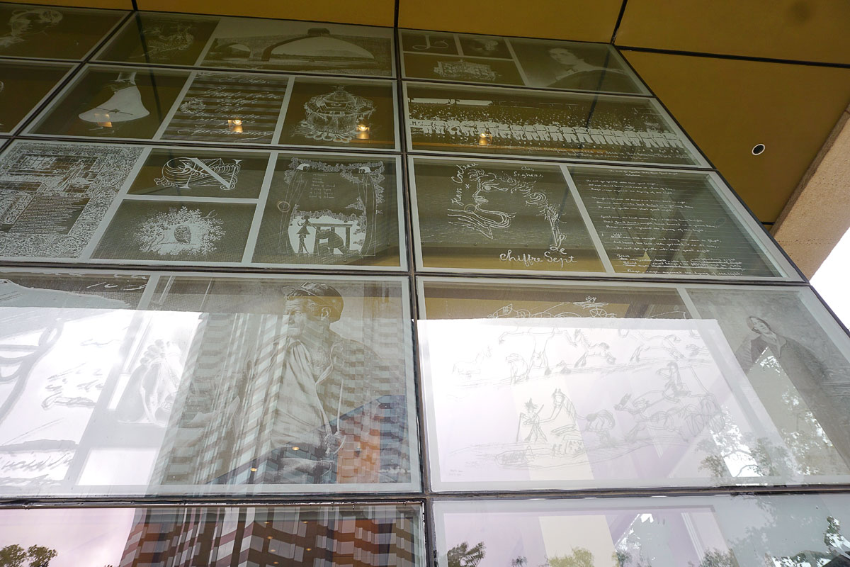 © 2018 Louise Levergneux. The Ransom Center's etched glass South windows.