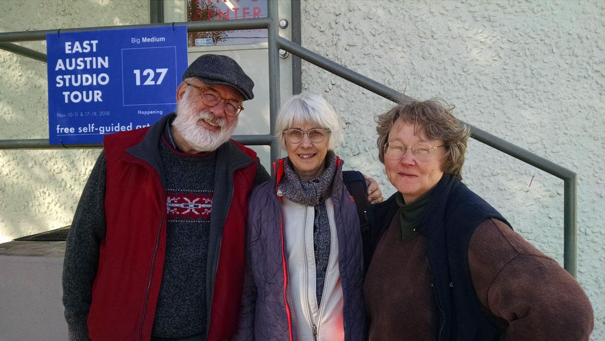 © 2018 Linda Anderson. Michael Sutton, Louise Levergneux, Mary Baughman, outside the Austin Book Art Center, Austin, Texas.