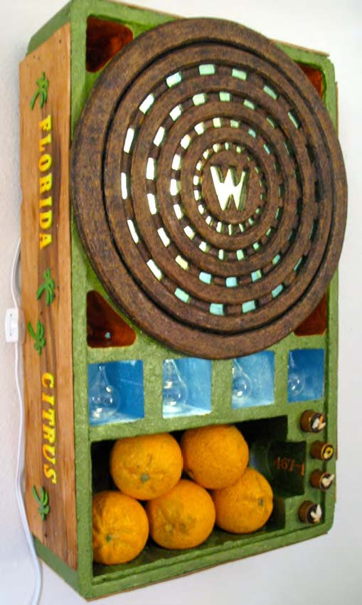"© 2015 Bobbi Mastrangelo.  Florida Citrus 467-1 , mixed media sculpture relief (21""x13""x5.5"") by Bobbi Mastrangelo."