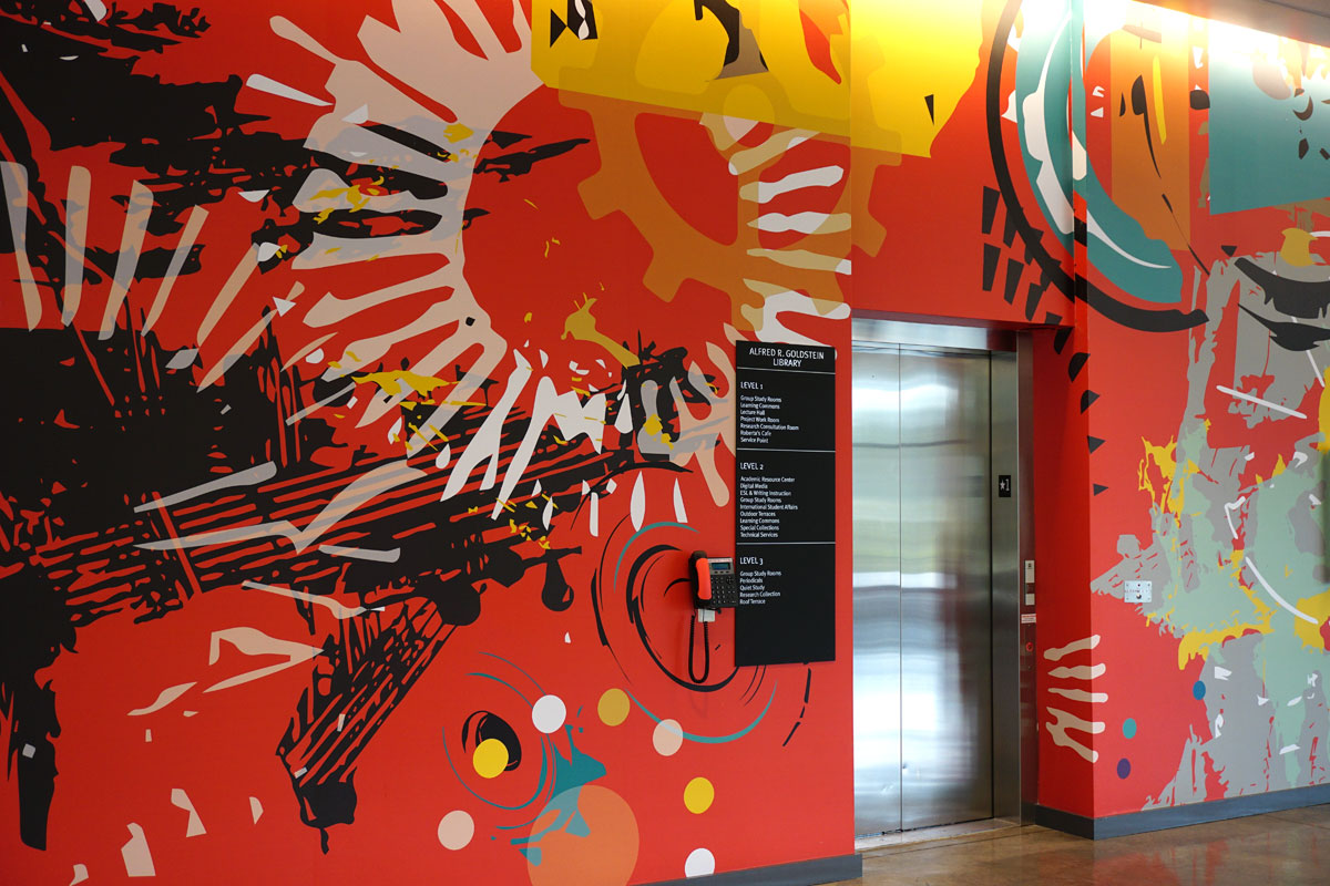 © 2019 Louise Levergneux. The Alfred R Goldstein Library lobby showcasing Julie Miller Kanapaux artwork,  Momentum  2016 .