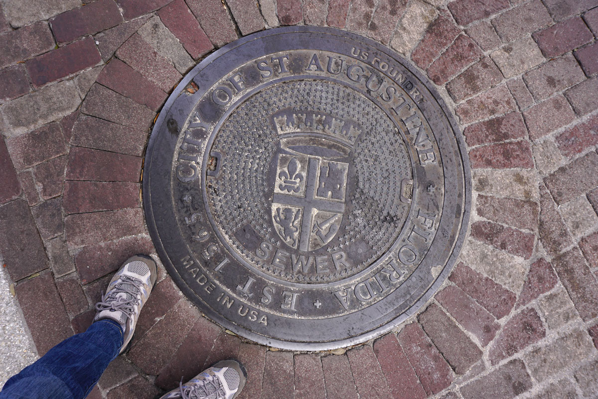 © 2018 Louise Levergneux. Manhole cover in St Augustine, Florida.